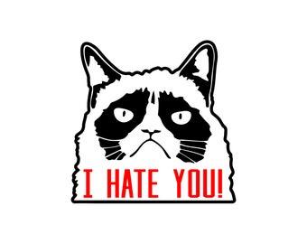 Grumpy Cat svg, I hate you svg, Pissed off cat