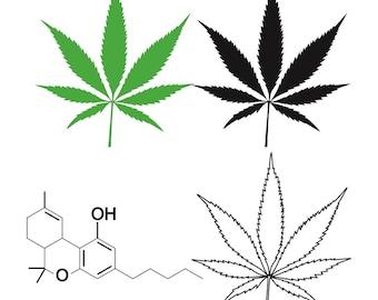 Cannabis Leaf w/ THC Molecule Clip art, Marijuana Leaf, Ganja, Pot leaf, Cannabis Stencils, Marijuana joint, Weed Leaf svg, Marijuana Leaf
