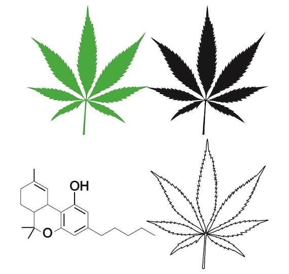 Cannabis Leaf W Thc Molecule Clip Art Marijuana Leaf Ganja Etsy