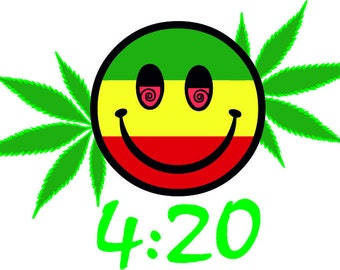 420 Happy Face svg, Cannabis Leaf, Marijuana Leaf, Ganja, Pot leaf, Cannabis Stencils, Marijuana joint, Weed Leaf svg, Marijuana Leaf