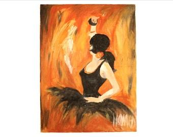 SALE! Vintage Original Oil Painting of Spanish Ballerina, wall art