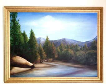 Reserved! Original Mountain and stream Landscape Oil Painting