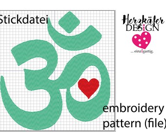 Stickdatei OM Zeichen Yoga Symbol - embroidery pattern Om sign yoga symbol - file for embroidery machine - Datei für Stickmaschine