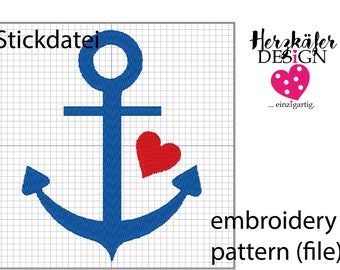 Stickdatei Seemann Ahoi 3er Set - embroidery pattern Sailor Ahoy - file for embroidery machine - Datei für Stickmaschine