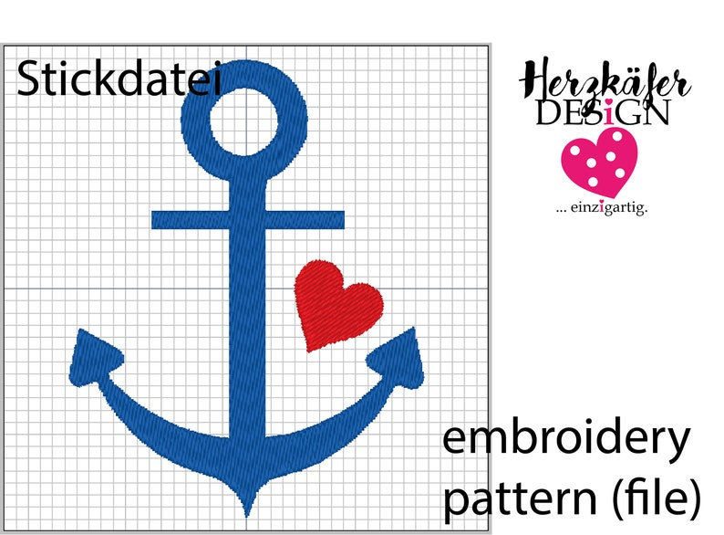 Stickdatei Seemann Ahoi 3er Set  embroidery pattern Sailor image 0