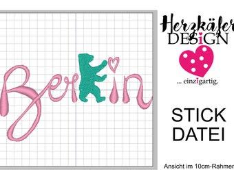 Stickdatei BERLIN Schriftzug mit Bär 3er Set - 3 Größen - Datei für Stickmaschine