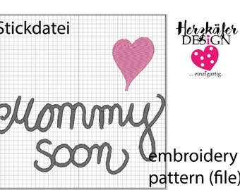 Stickdatei Mommy soon LOVE - embroidery pattern baby bump - file for embroidery machine - Datei für Stickmaschine