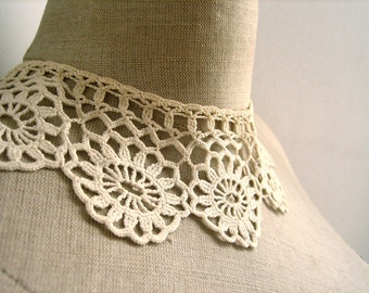 Vintage Antique French hand made crochet lace collar Lace Trim Wedding Hand Crochet Daisy Pattern