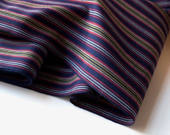 Indigo Blue Striped Wool / Japanese Kimono Fabric / Vintage Japanese Panel Textile unused bolt by the yard Wool Blend OFF the bolt Yardage