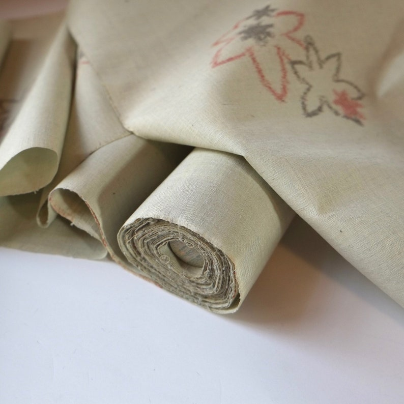 Light Green IKAT Tsumugi Silk Kimono Fabric unused bolt by the yard Karsuri Maple Leaf pattern 100/% Silk OFF the bolt Japanese Silk Textile