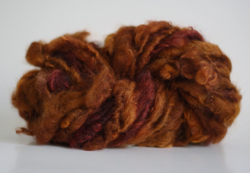 Thick Thin Yarn Handspun Leicester Longwool Wool Art Lockspun Lock Spun Curly Wool Loose Curls Weft Weaving ChlsA