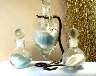 """Personalized Unity Sand Ceremony Set """"Amphora""""  with glass stoppers"""