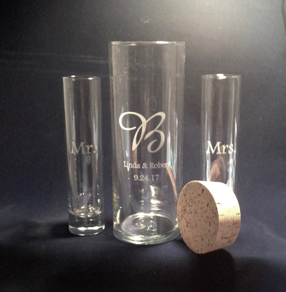 Personalized Unity Sand Ceremony Curved Vase Wedding and Anniversary Cork Stopper