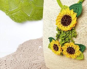 Necklace -Ethnic Handmade Crochet Beaded Unique Yellow Autumn Floral Statement Bohemian Long Tassel Necklace, Crochet Sunflower Jewelry