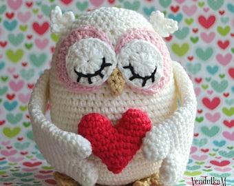 Crochet pattern - Valentines Owl by VendulkaM - amigurumi/ Valentine's day gift / decoration/ crochet toy, digital pattern, DIY, pdf