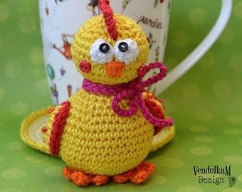 Crochet pattern - Chicken coaster - Eastern Decoration / Kitchen Table/ Digital pattern / Amigurumi /DIY