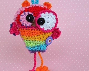 Crochet Pattern / Crazy Rainbow Owl Hanger / Pendant / Ornament by VendulkaM / Digital Pdf