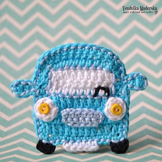 Crochet Car Appliqu Crochet Pattern Diy Etsy