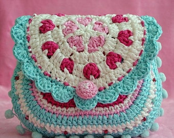 Crochet pattern - Hearts purse - crochet pattern / purse / digital pattern / DIY