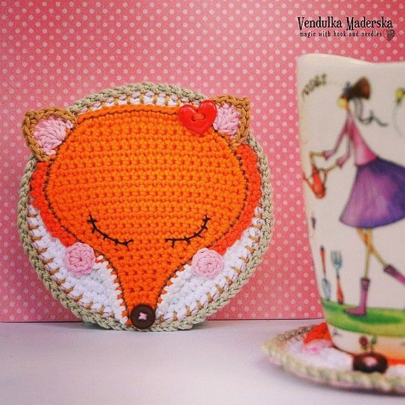 91f596f5f46 Crochet pattern fox coaster   autumn decoration   kitchen
