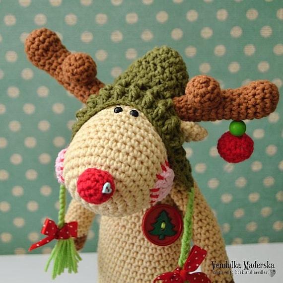Crochet pattern Christmas Reindeer by VendulkaM amigurumi/   Etsy