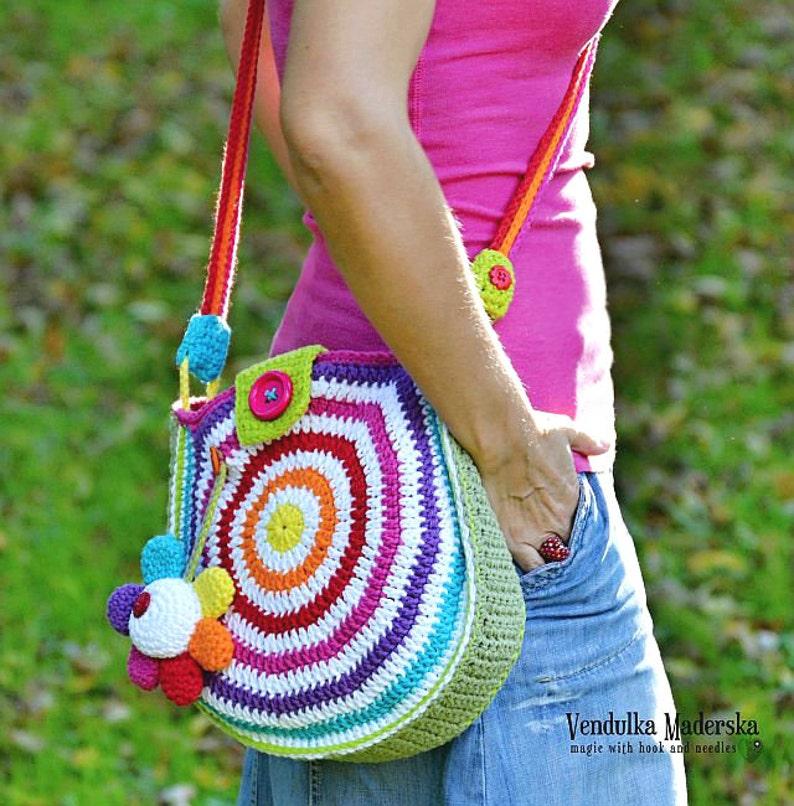 Crochet Pattern  Big rainbow bag  crochet bag pattern / image 0
