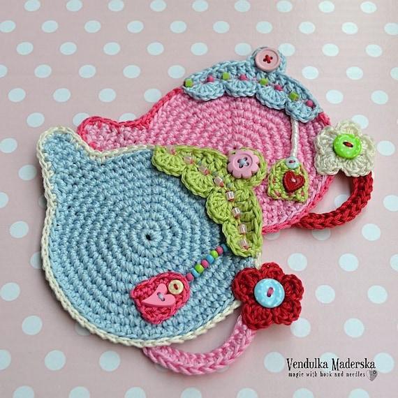 Teapot Coaster and 2 Coasters Handmade Crochet Tea Set