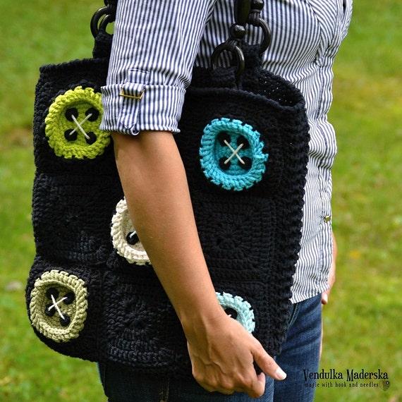 Crochet Pattern Big Buttons Bag By Vendulkam Crochet Bag Etsy