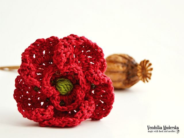 Crochet Poppy Flower Brooch Pattern Diy Etsy