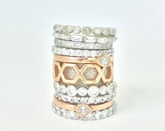 Rose Gold Geometric Band - Rose Gold Band - Geometric Stack Ring