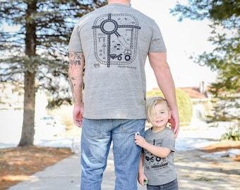 Dad and Toddler Matching Playmat T-shirts