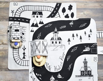 Set of Train and River Playmats