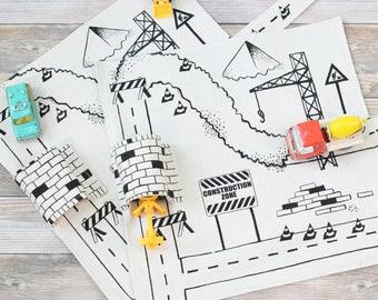 Set of 2 Construction Vehicle Playmats