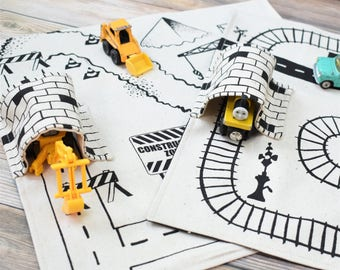 Set of 2 Playmats: Train and Construction