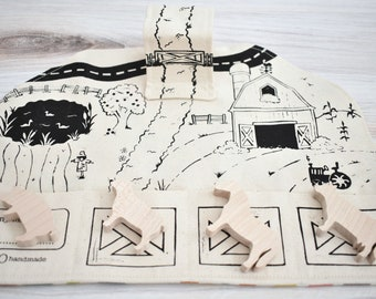 Farm Playmat with Wooden Farm Animals