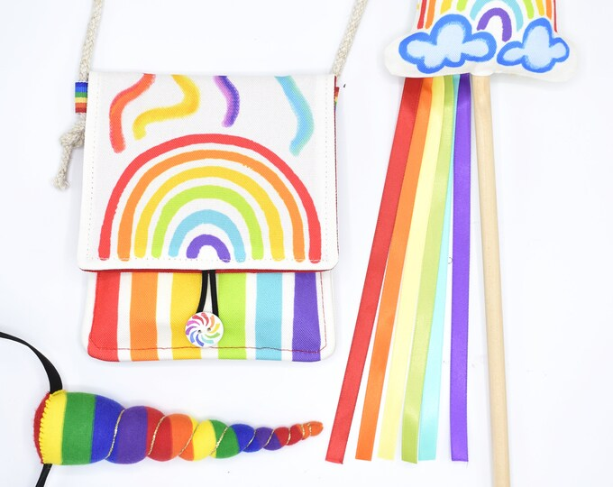 Rainbow Gift Set: Rainbow Unicorn Headband, Crayon Bag & Wand