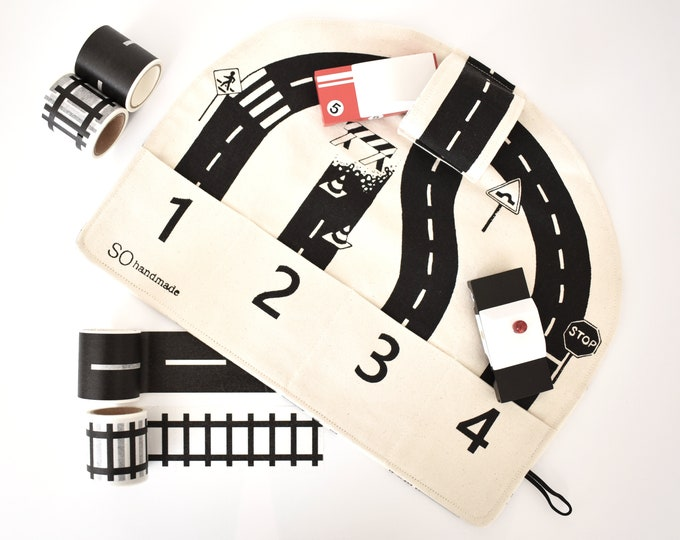 Car Playmat with Set of 4 Rolls of Road and Train Tracks Tape
