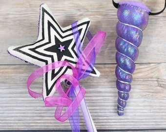 Purple Magic Wand and Unicorn Headband Gift Set
