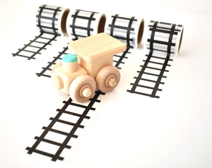 Set of 4 Rolls Train Tracks Tape with Wooden Train