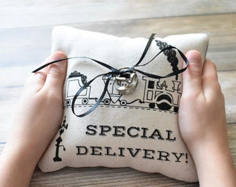 Train Ring Bearer Pillow
