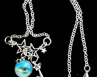 David Bowie Eye Charm pendant necklace with Stars.