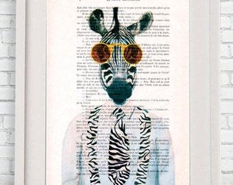 Burlesque Zebra Print, Zebra with sunglasses, Original Artwork, Zebra Wall Art, Stripes, Nursery Artwork,black and white, Coco de Paris
