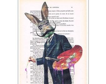 Rabbit painter, Salvador dali,deviant art, pop art, art attack, art deco, wall art, butterfy Art Print Print Illustration Acrylic Painting
