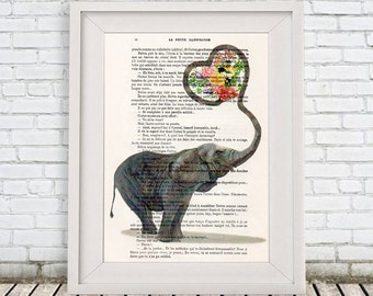 Elephant Love Digital Print Mixed Media Illustration Print Art Poster Acrylic Painting Holiday Decor Drawing, Christmas gift, holiday gift