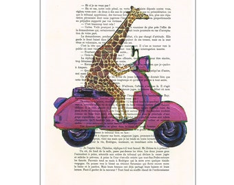 Giraffe on vespa poster, quote print, Vespa scooter print, bike print, inspirational wall decor, motivational art, retro