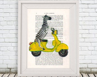 Zebra print Drawing Illustration animal painting portrait painting Posters Mixed Media Art Acrylic Painting: Zebra on yellow Vespa