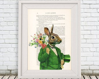 Rabbit in green,Nursery, Rabbit Art Print, Merry Everything,Happy Always,Joy Peace and Love,Rabbit Wall Art, Hare Print, Alice in Wonderland
