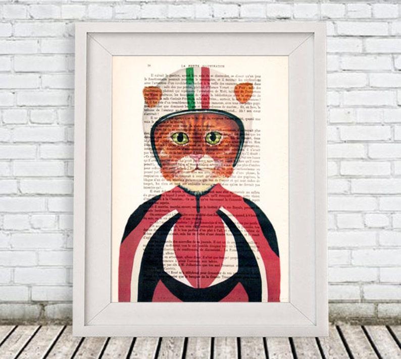 Chat Avec Casque Moto Cat Digital Print Affiche Dessin Etsy