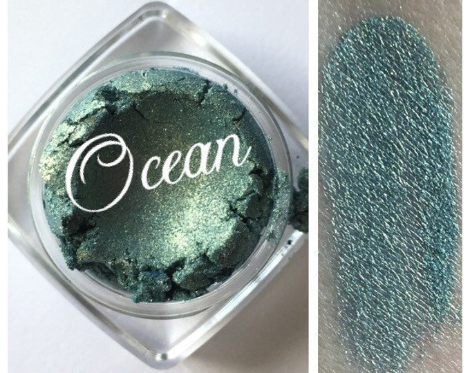 Featured listing image: OCEAN Eye Shadow Minerals Organic Sea Green Gold Sparkle All Natural Pure Cruelty free Nails Lips Eyes