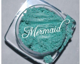 MERMAID Eye Shadow Minerals sea green Vegan All Natural Minerals Shimmers Pure, Pigments, eyes, Nails
